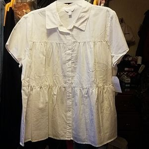 Ladies white button up shirt